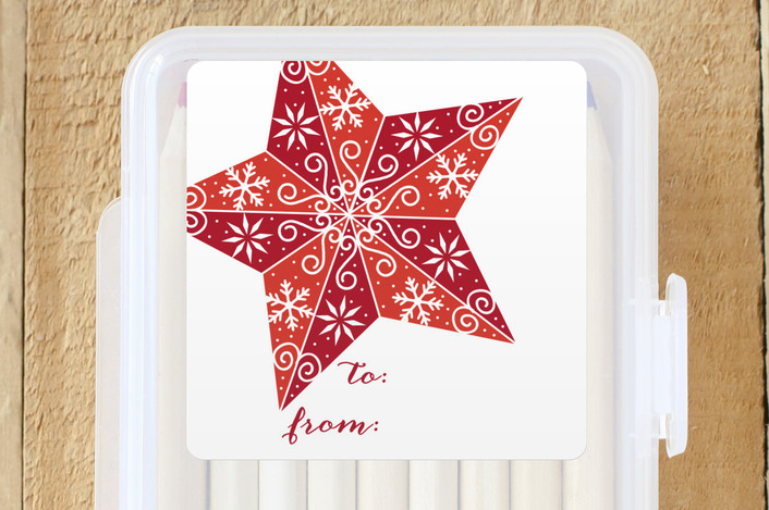 """Stenciled Star"" - Custom Stickers in Stocking by Beth Schneider."
