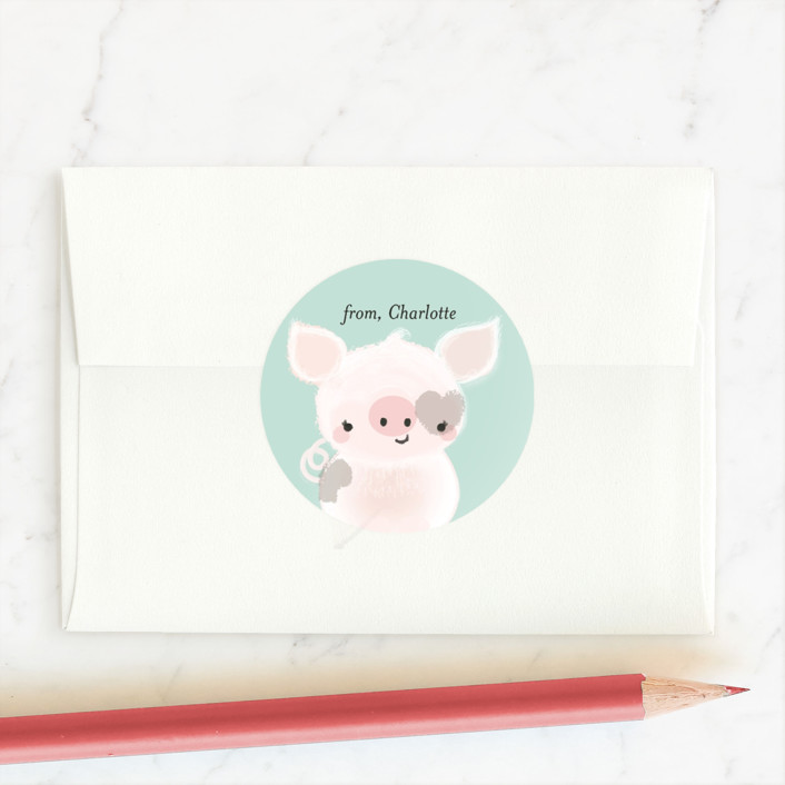 """""""Pig Time"""" - Custom Stickers in Aqua by Itsy Belle Studio."""