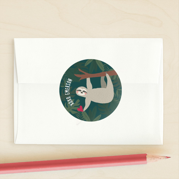 """Sleepy Sloth"" - Custom Stickers in Bubblegum by Joanna Griffin."