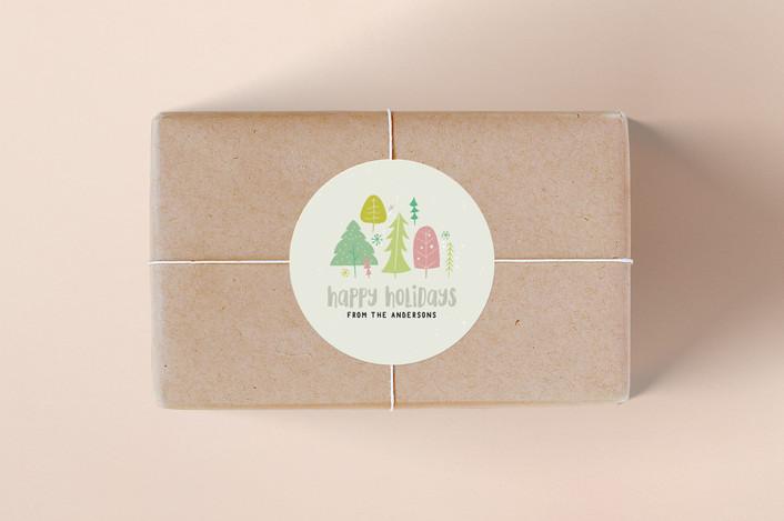"""""""Festive Forest"""" - Custom Stickers in Cool Grey by Kiersten Garner."""