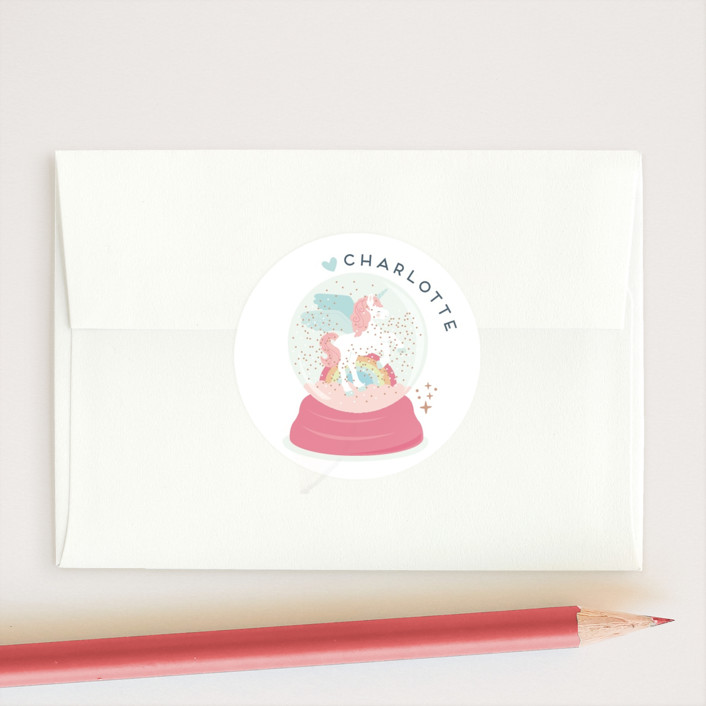 """Magic glitter unicorn"" - Custom Stickers in Candy by peetie design."