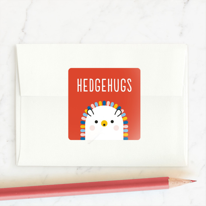 """""""Rainbow Hedgehog"""" - Custom Stickers in Crimson by Genna Blackburn."""