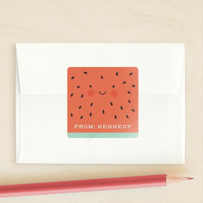 """One In A Melon"" - Custom Stickers in Mint by Gratia Design Co.."