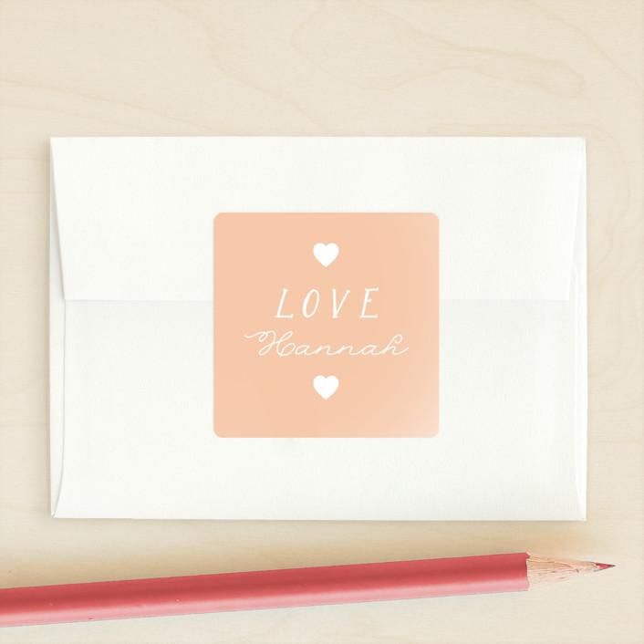 """Be Mine"" - Custom Stickers in Peach by Hudson Meet Rose."