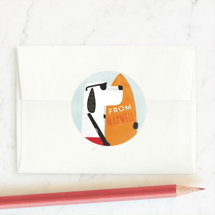 """Surfs Up"" - Custom Stickers in Tangerine by JeAnna Casper."