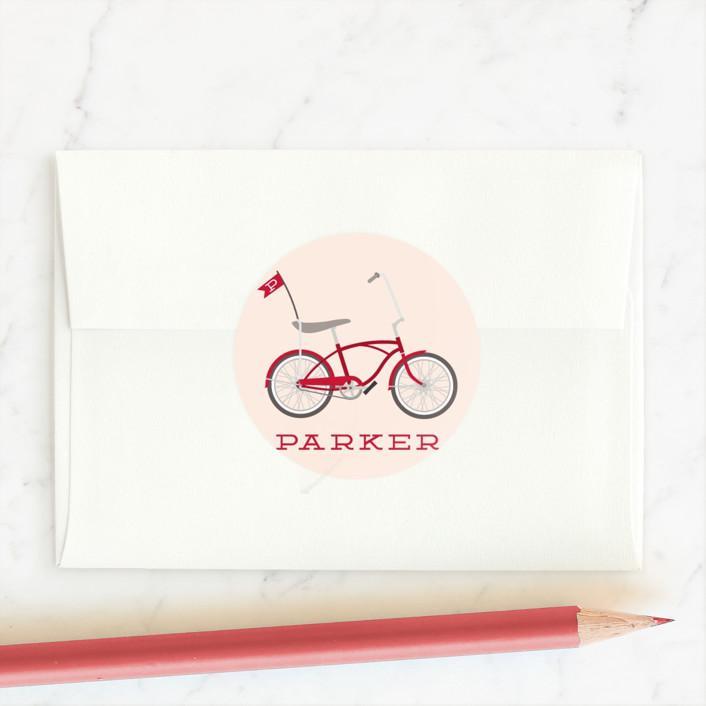 """""""Wheelie"""" - Custom Stickers in Firetruck by Hudson Meet Rose."""