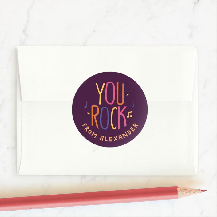 """""""You Rock"""" - Custom Stickers in Tangerine by Robin Ott."""