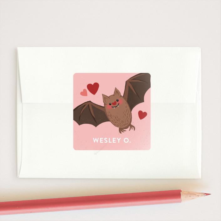 """Batty"" - Custom Stickers in Rosebud by Jessica Ogden."