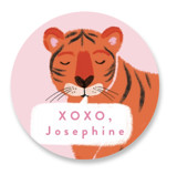This is a pink custom sticker by Alethea and Ruth called Great Tiger with standard printing on uncoated sticker paper in sticker.
