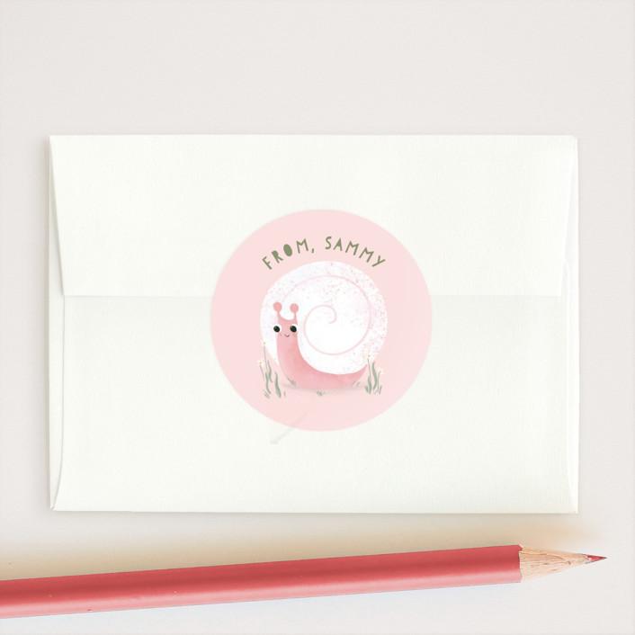 """Slow Glad"" - Custom Stickers in Petal by Itsy Belle Studio."