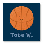 This is a blue custom sticker by Kacey Kendrick Wagner called Basketball Swish with standard printing on uncoated sticker paper in sticker.