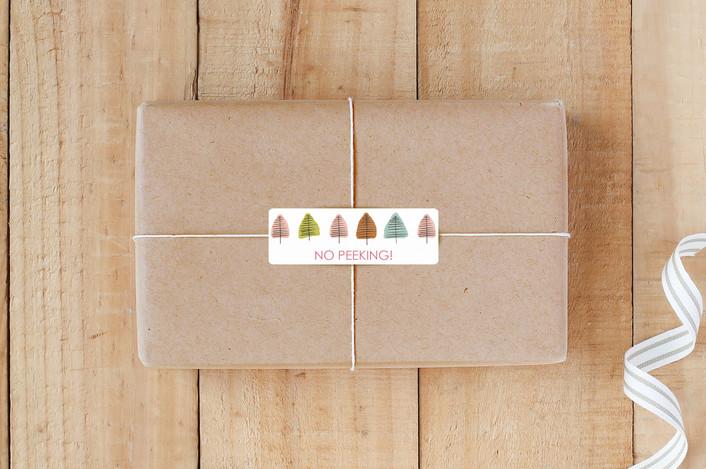 """Watercolor Brush Trees"" - Custom Stickers in Petal by tammie bennett."