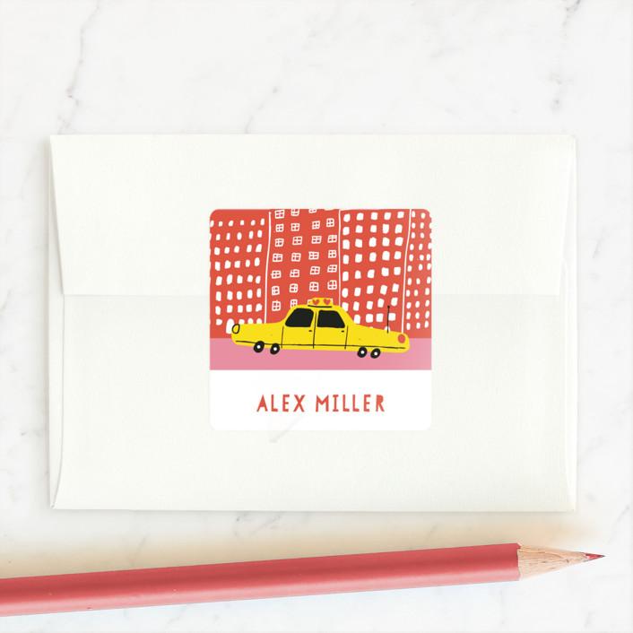 """""""Cityscape"""" - Custom Stickers in Seashell Pink by Jordan Sondler."""
