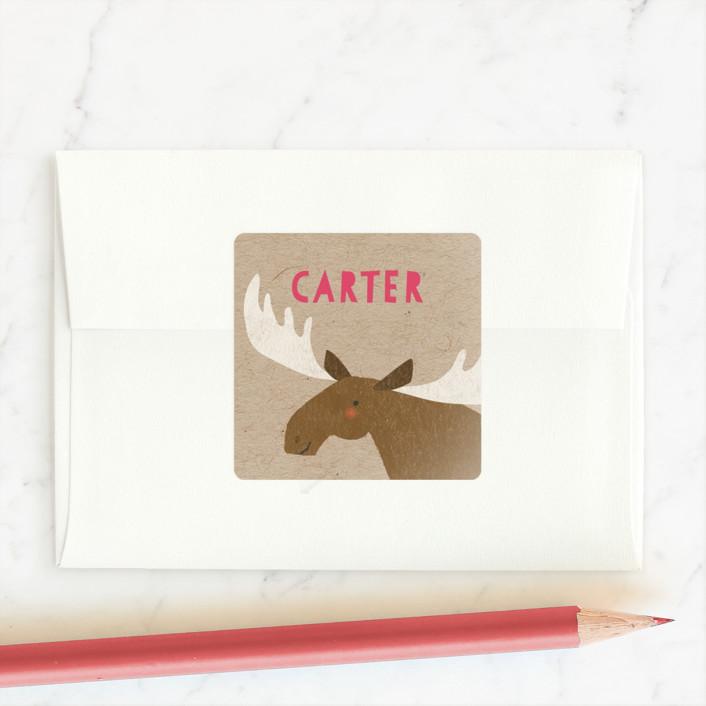 """sweet moose"" - Custom Stickers in Crimson by Karidy Walker."