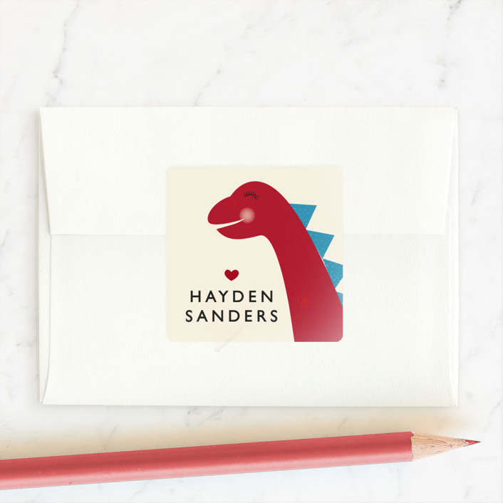 """""""Dino-mite"""" - Custom Stickers in Scarlet by 24th and Dune."""