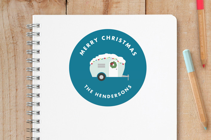 """""""Campy Little Christmas"""" - Whimsical & Funny Custom Stickers in Ice by Jen Boehler."""