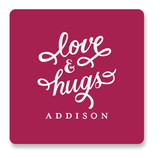 This is a pink custom sticker by Sarah Brown called Love and Hugs with standard printing on uncoated sticker paper in sticker.