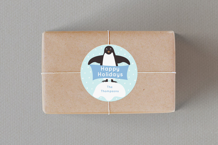 """""""Presents from Penguins"""" - Custom Stickers in Sky by Jennifer Holbrook."""