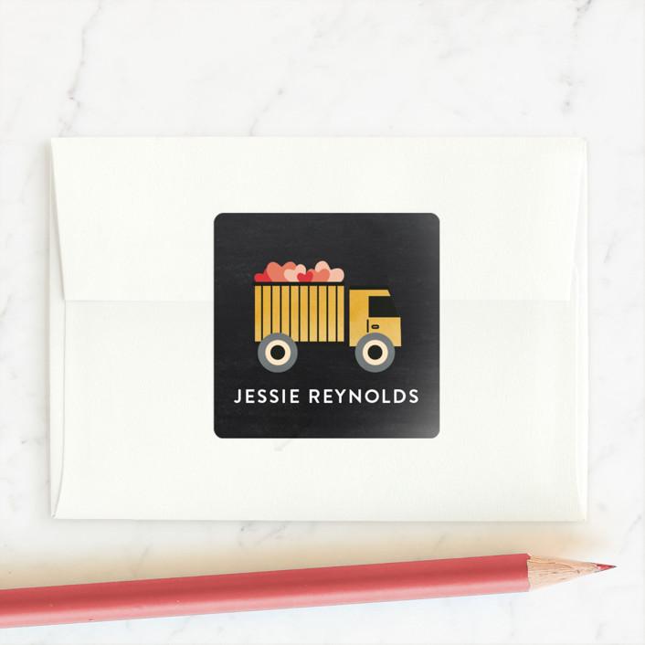 """Hauler Back"" - Custom Stickers in Asphalt by Erica Krystek."