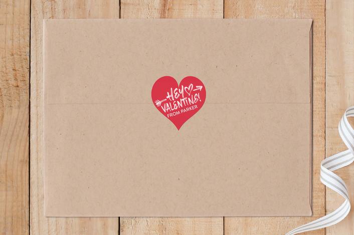 """Hey Valentine"" - Custom Stickers in Firetruck by Sam Dubeau."