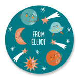 This is a blue custom sticker by Angela Thompson called Out of this World! with standard printing on uncoated sticker paper in sticker.