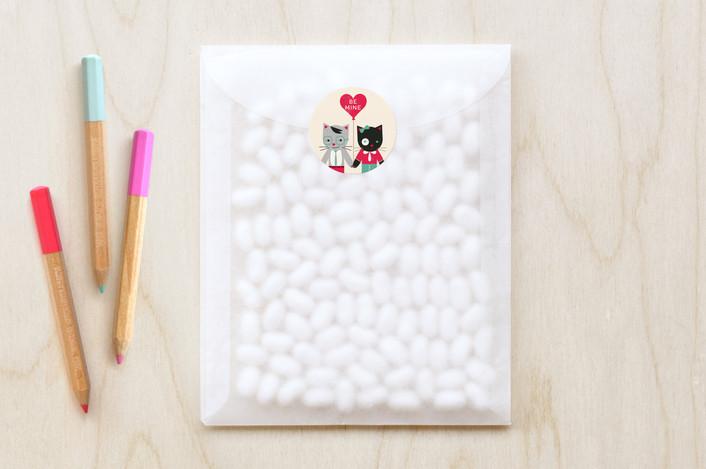 """Be My Smitten Kitten"" - Whimsical & Funny Custom Stickers in Teal by Kristen Smith."