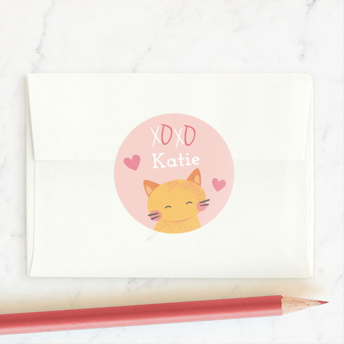 """Purrfect Kitties"" - Whimsical & Funny Custom Stickers in Petal by peetie design."
