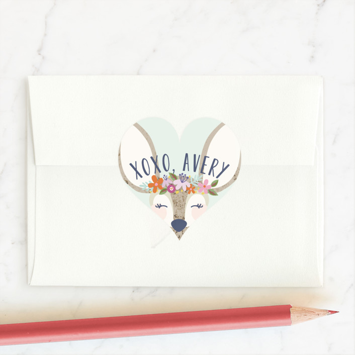 """My Deer"" - Custom Stickers in Mint by Laura Hankins."