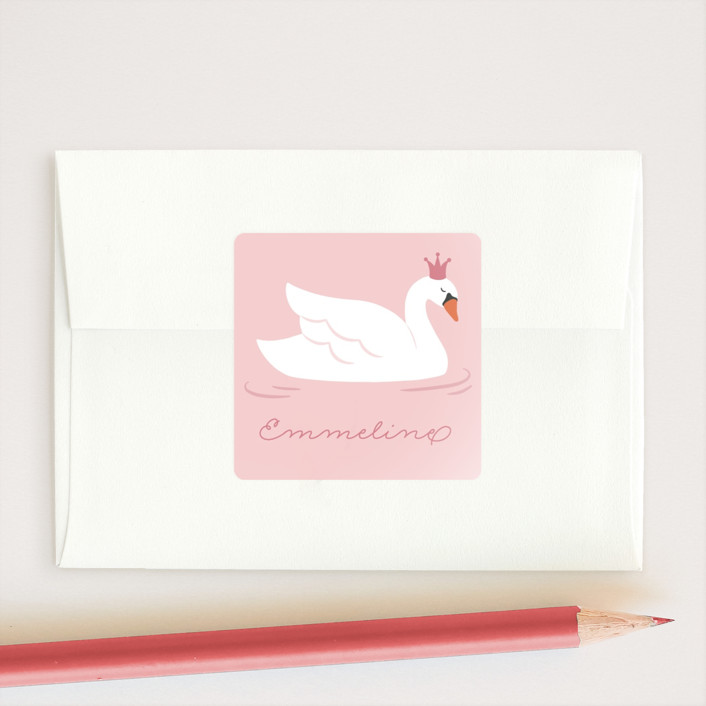 """Royal Swan"" - Custom Stickers in Petal by Kacey Kendrick Wagner."