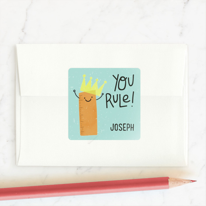 """""""You Rule!"""" - Custom Stickers in Teal by Juliana Duque."""