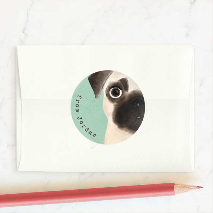 """Pugs and kisses"" - Custom Stickers in Mint by Gwen Bedat."