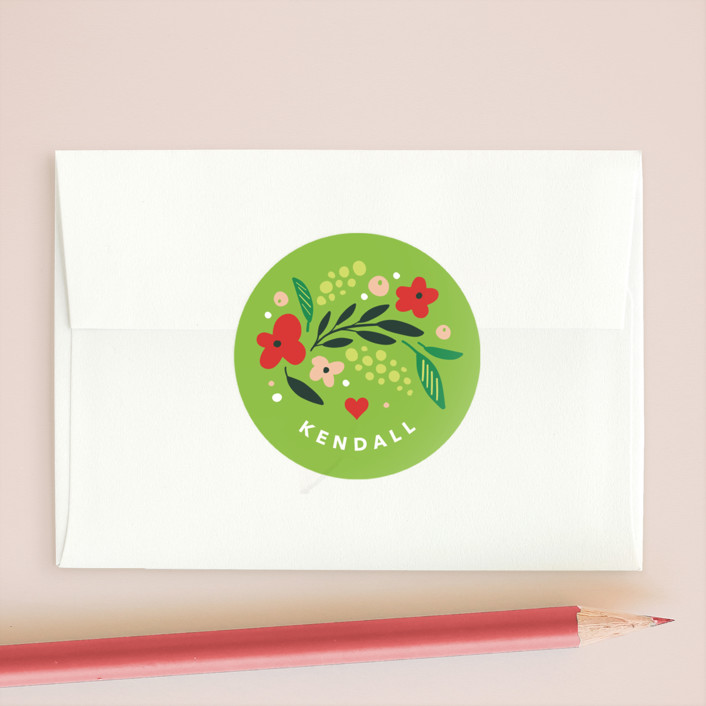 """Wildflower Valentine"" - Custom Stickers in Evergreen by Kristen Smith."