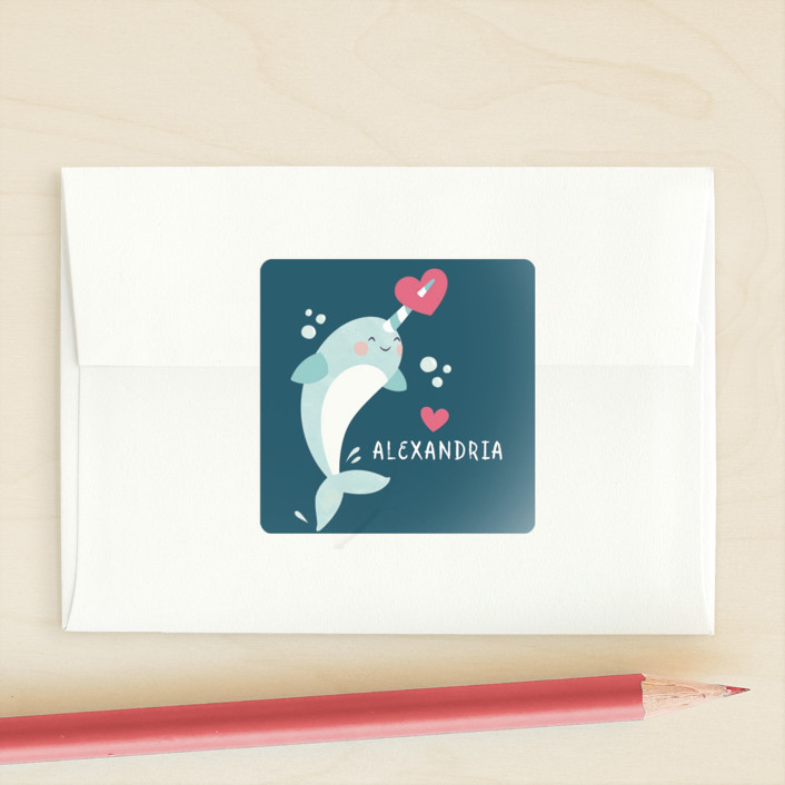 """sweet narwhal"" - Custom Stickers in Ocean by peetie design."
