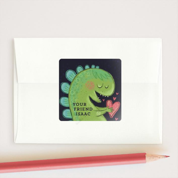 """Dino-Mite Valentine"" - Custom Stickers in Ebony by Danielle Hartgers."