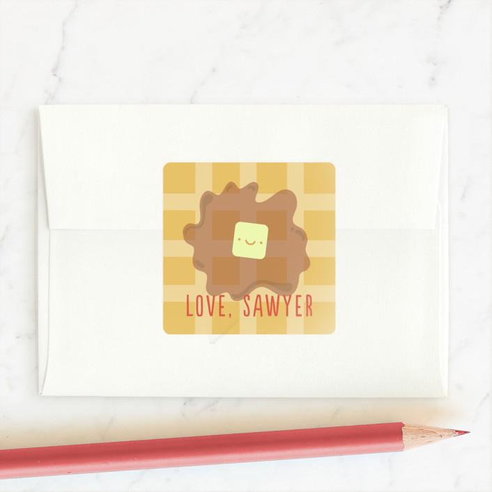 """""""Valentine Breakfast"""" - Custom Stickers in Tangerine by Anne Holmquist."""
