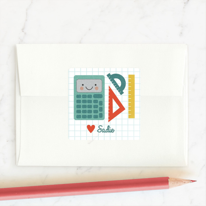"""According to My Calculations"" - Custom Stickers in Aqua by One Swell Studio."