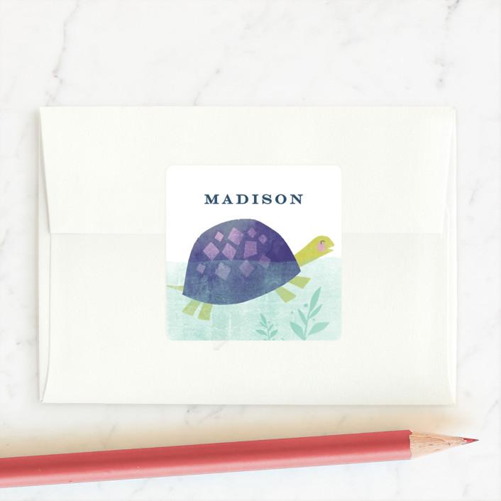 """swimming turtles"" - Custom Stickers in Indigo by Karidy Walker."