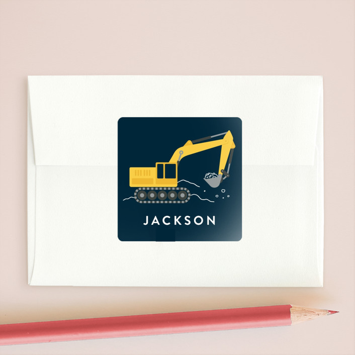 """Excavator"" - Custom Stickers in Midnight by Kacey Kendrick Wagner."