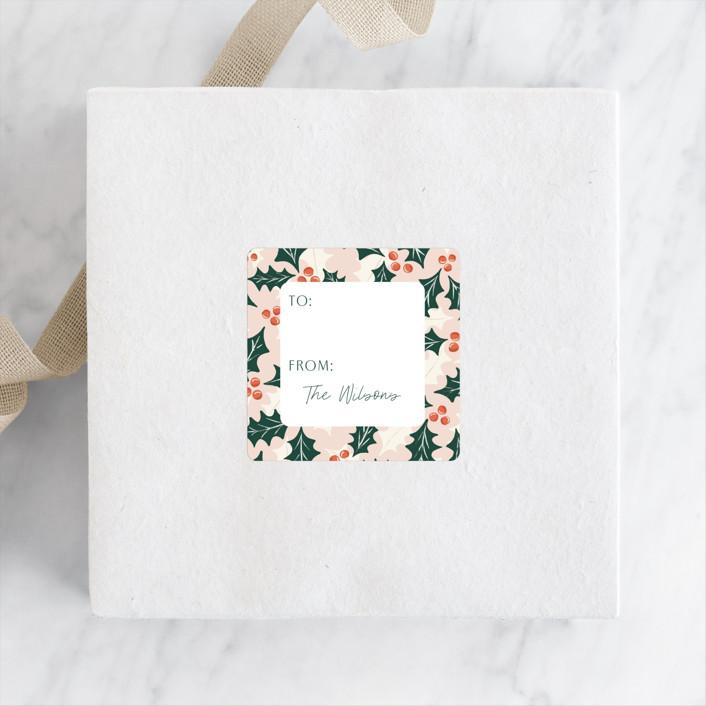 """Holiday leaves II"" - Custom Stickers in Blush by Yaling Hou Suzuki."