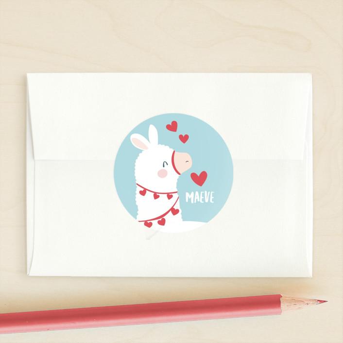"""llamazing"" - Custom Stickers in Sky by peetie design."