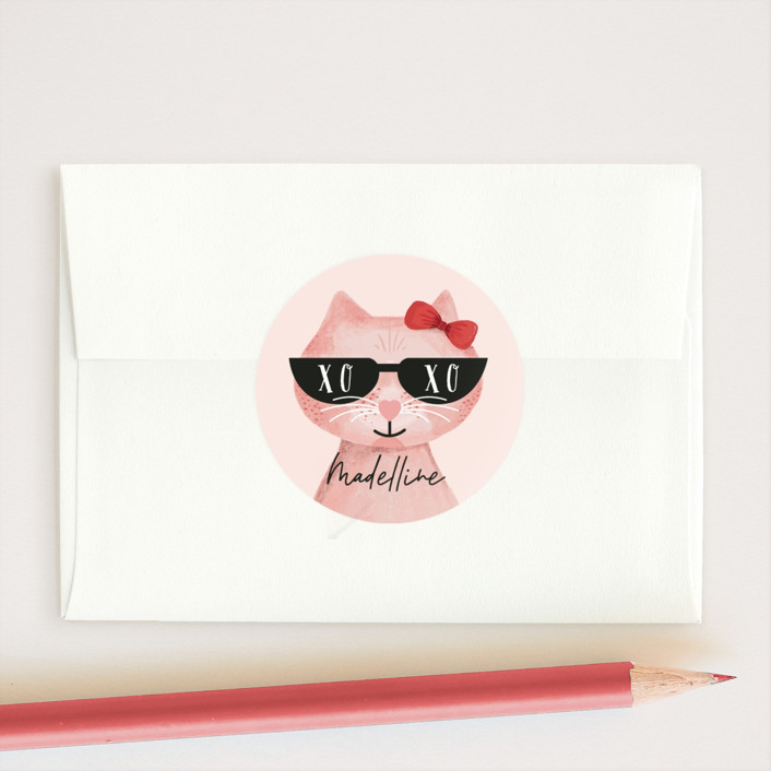 """You Are One Cool Cat"" - Custom Stickers in Blush by Mansi Verma."