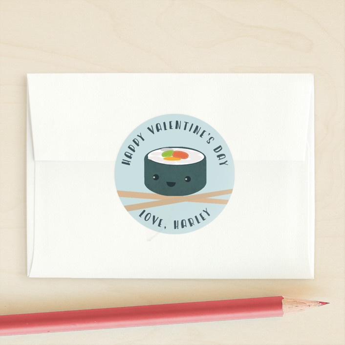 """Sushi Love"" - Custom Stickers in Pool by Anne Holmquist."