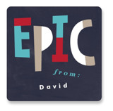 This is a blue custom sticker by Pixel and Hank called Epic Valentine with standard printing on uncoated sticker paper in sticker.