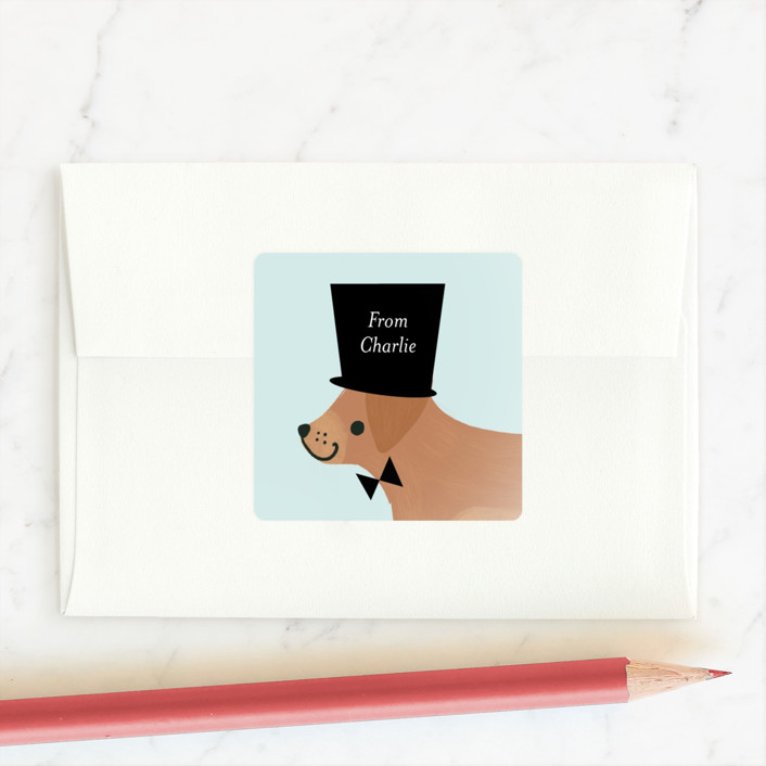 """Top Dog"" - Custom Stickers in Aqua by Itsy Belle Studio."