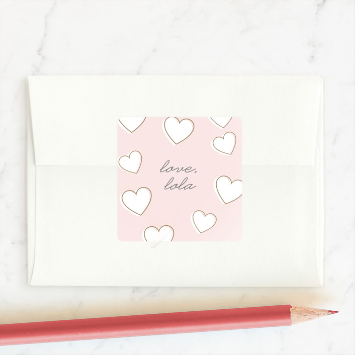 """""""Jumbo Hearts"""" - Custom Stickers in Carnation by Lauren Chism."""