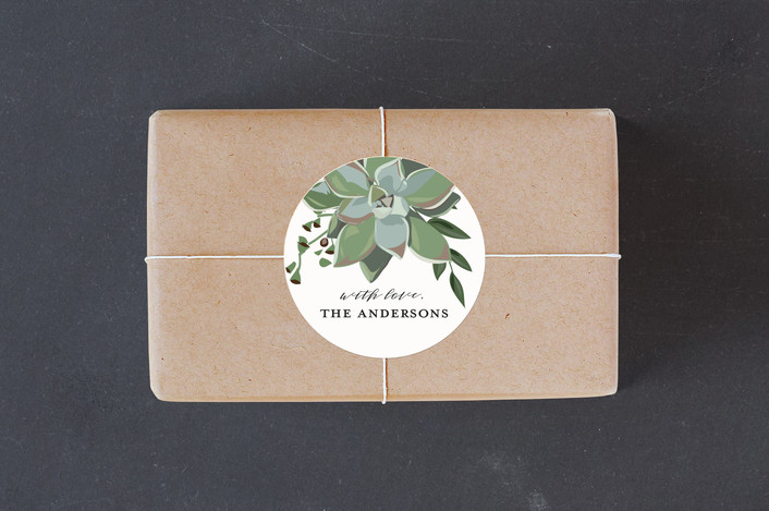 """""""Wrapped in Succulents"""" - Custom Stickers in Ivory by Susan Moyal."""
