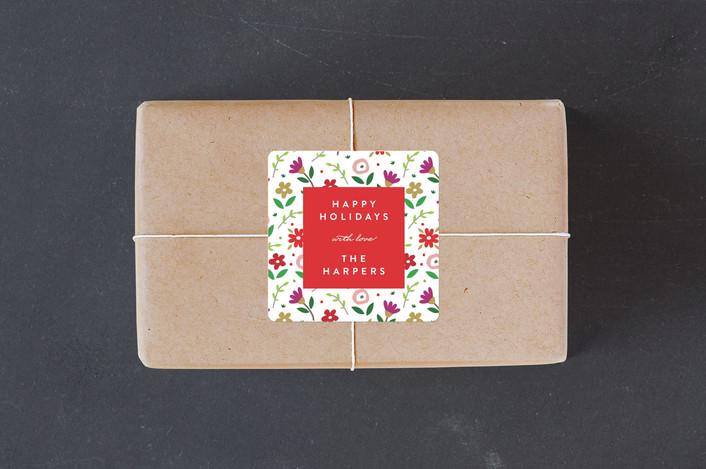 """""""Holiday Bloom"""" - Custom Stickers in Christmastime by Erica Krystek."""