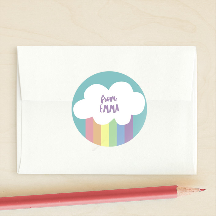 """Making Rainbows"" - Custom Stickers in Clear Skies by Dawn Jasper."