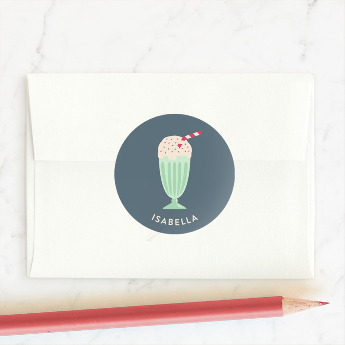 """Ice Cream Sundae"" - Custom Stickers in Cool Mint by Kampai Designs."