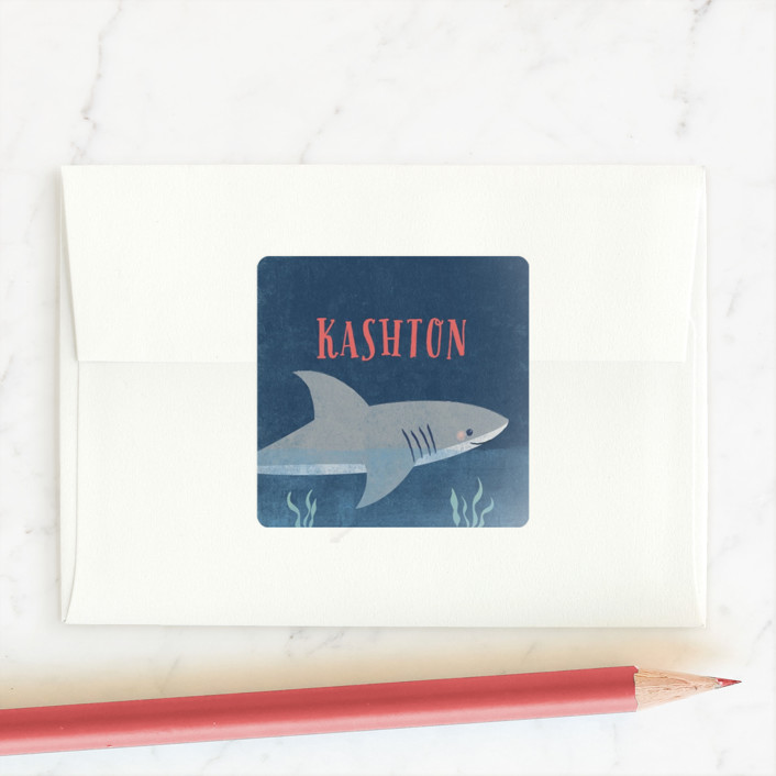 """""""Fintastic Shark"""" - Custom Stickers in Coral by Karidy Walker."""